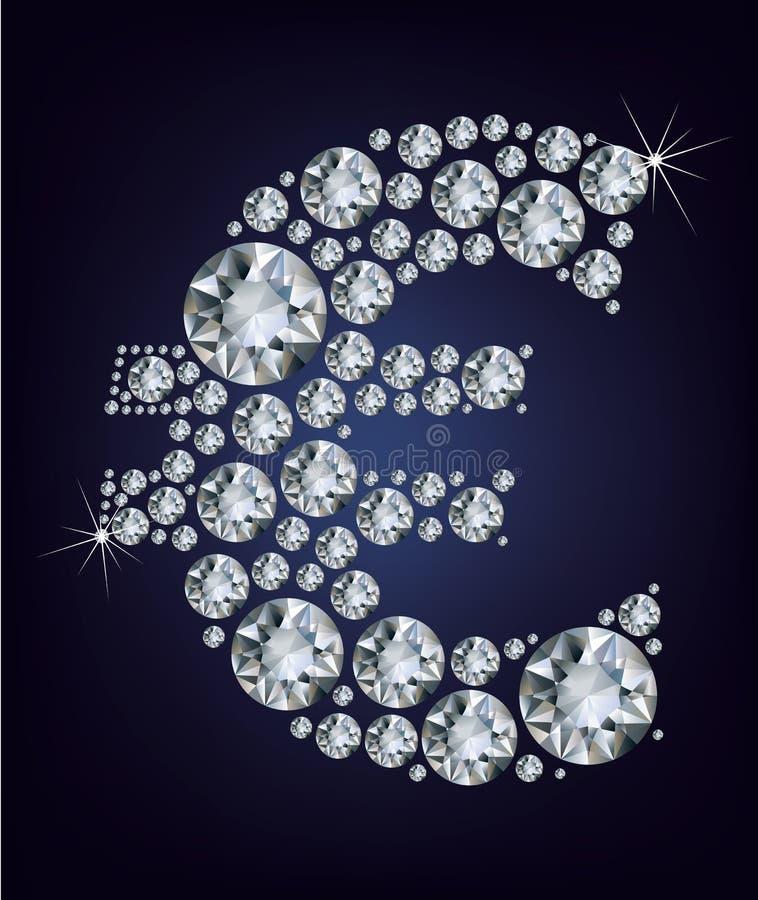 karowy euro symbol ilustracja wektor