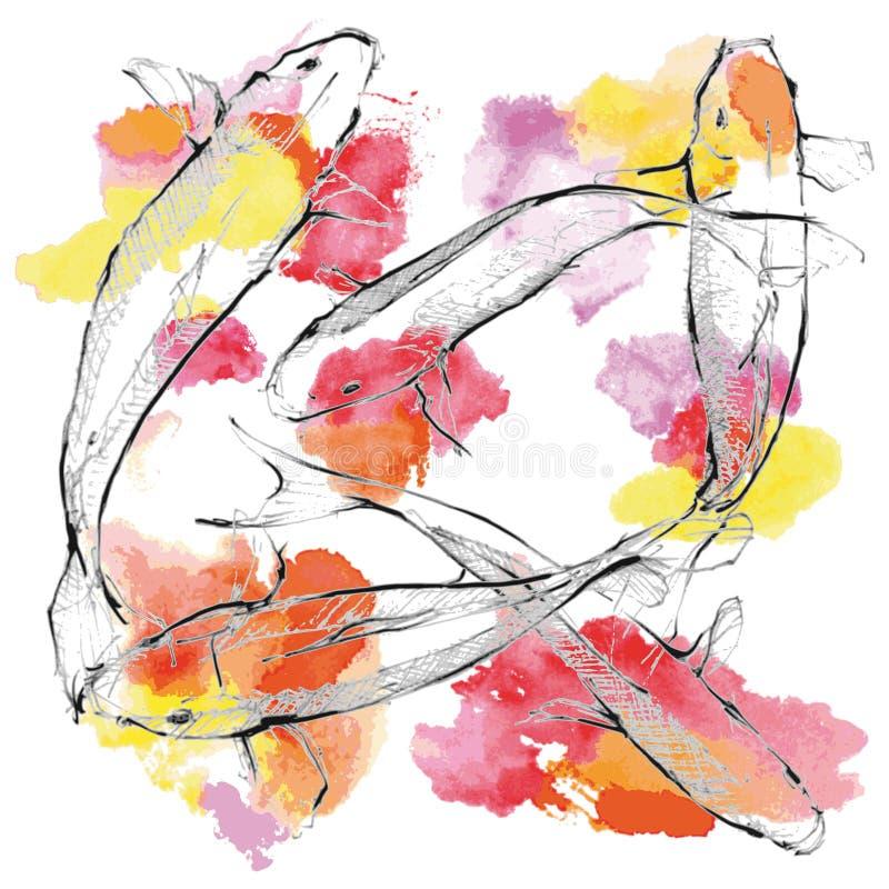 Karpfen auf Farbenboden stock abbildung
