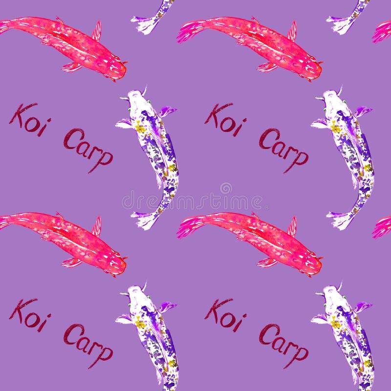 Karpfen, handgemalte Aquarellillustration mit handgeschriebener Aufschrift, nahtloses Musterdesign auf purpurrotem Veilchen vektor abbildung
