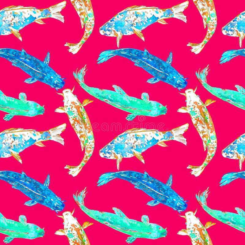 Karpfen im Blau, im Türkis und in der gelben Farbpalette, handgemalte Aquarellillustration, nahtloses Musterdesign auf Rot lizenzfreie abbildung