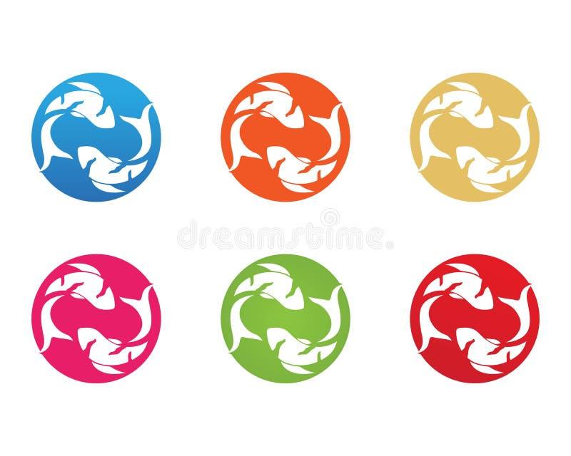 Karpfen koi Entwurf auf weißem Hintergrund tier Fisch-Ikone unterwasser Einfaches editable überlagert stock abbildung