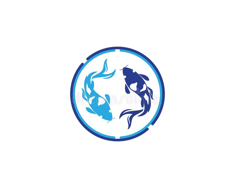 Karpfen koi Entwurf auf weißem Hintergrund tier Fisch-Ikone unterwasser Einfaches editable überlagert lizenzfreie abbildung