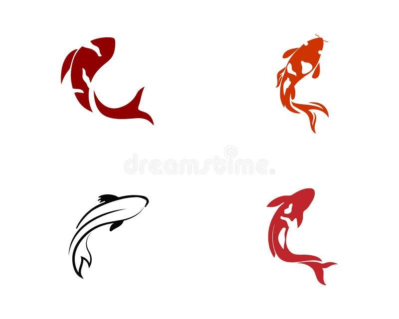 Karpfen koi Entwurf auf weißem Hintergrund tier Fisch-Ikone unterwasser Einfaches editable überlagert vektor abbildung