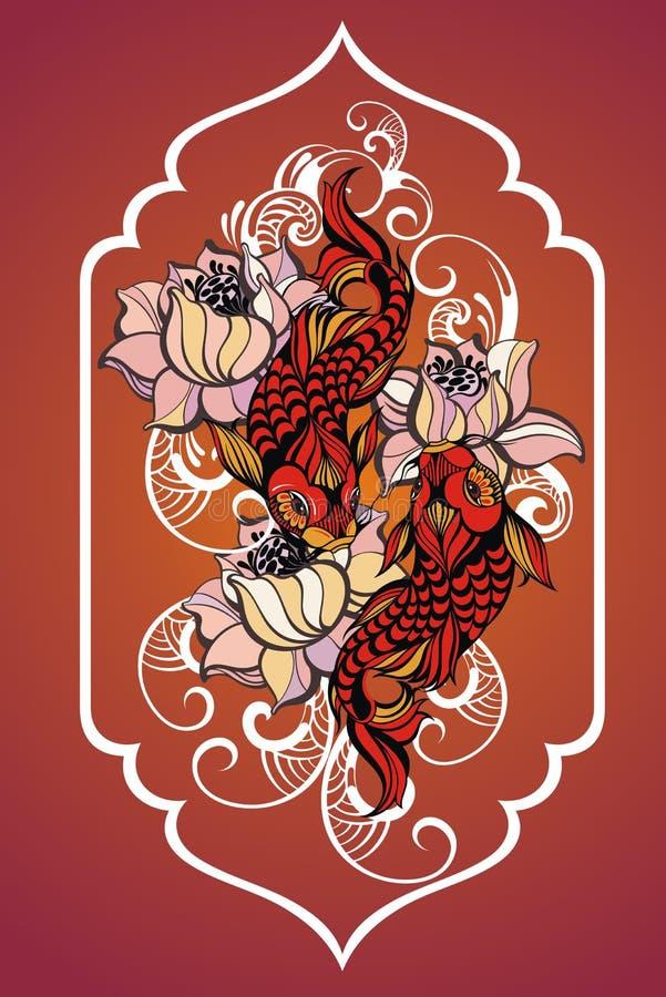 Karpfen mit Blumen stock abbildung