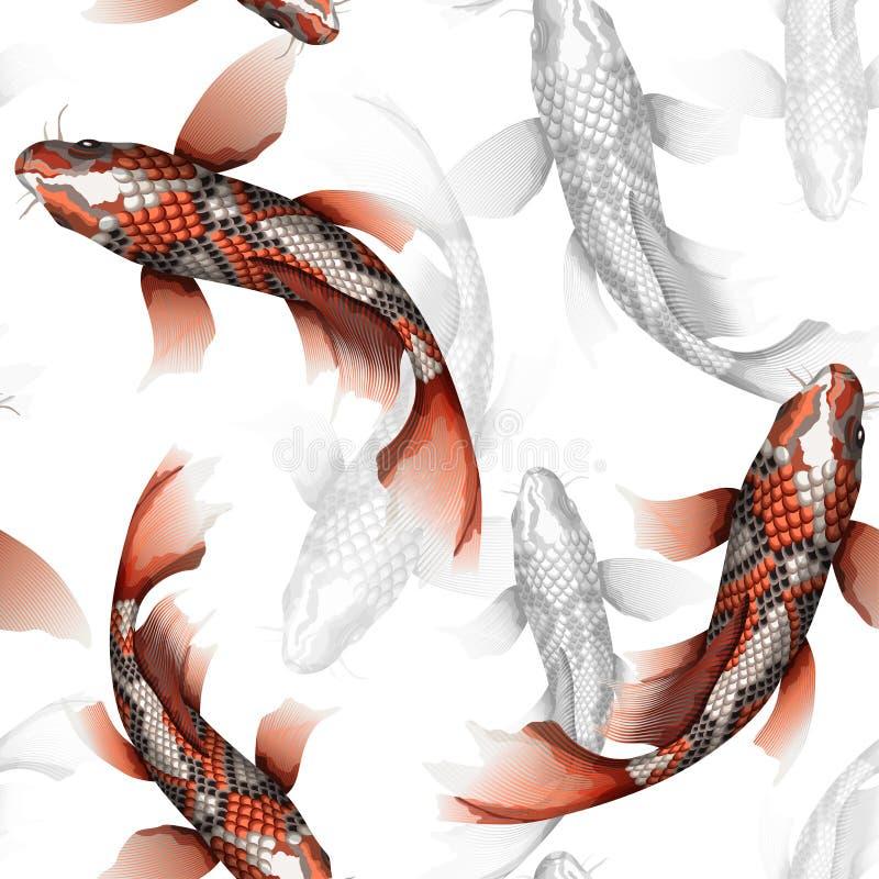 Karpfen, nahtloses Muster des traditionellen bunten japanischen Vektors der Fische ausführlichen vektor abbildung