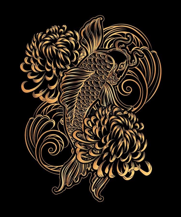 Karpfen tatoo lizenzfreie abbildung