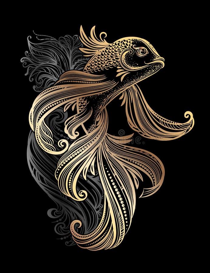 Karpfen tatoo stock abbildung