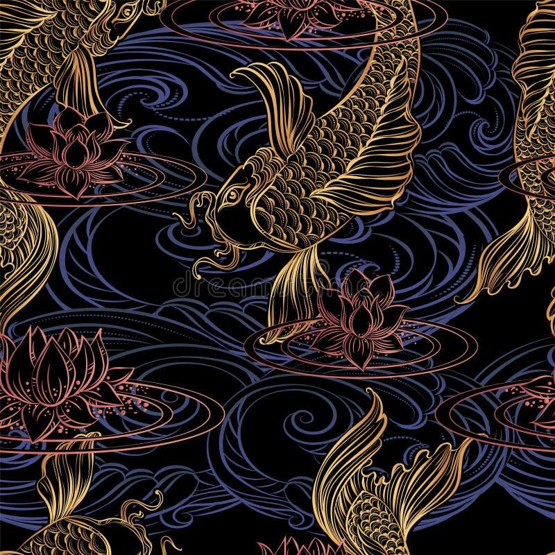 Karpfen tatoo Muster stock abbildung