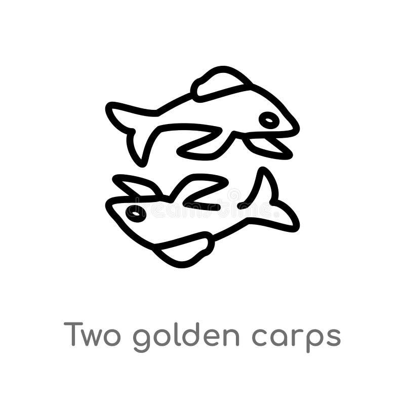 Karpfen-Vektorikone des Entwurfs zwei goldene lokalisiertes schwarzes einfaches Linienelementillustration vom Tierkonzept Editabl vektor abbildung