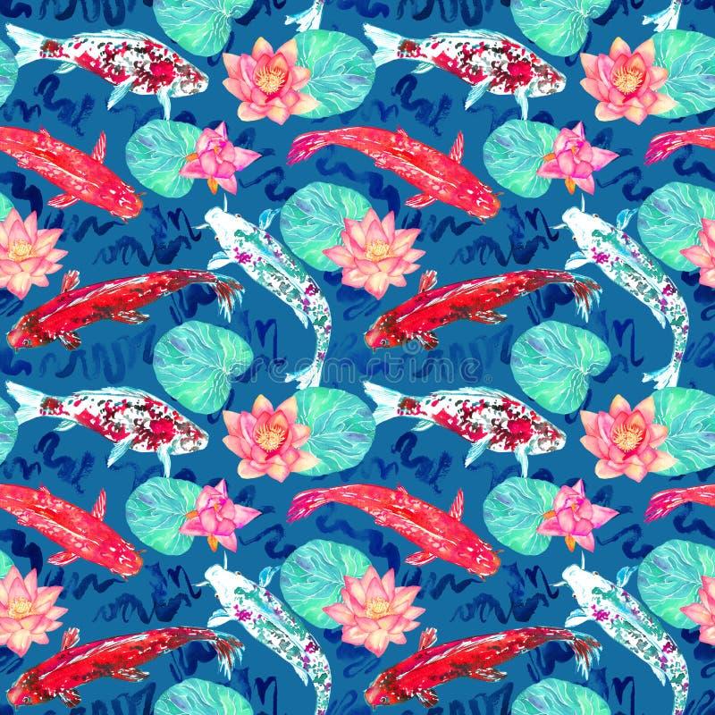 Karpfensammlungsschwimmen im Teich mit Blau bewegt mit rosa Lotosblumen auf dunklem Türkishintergrund wellenartig vektor abbildung
