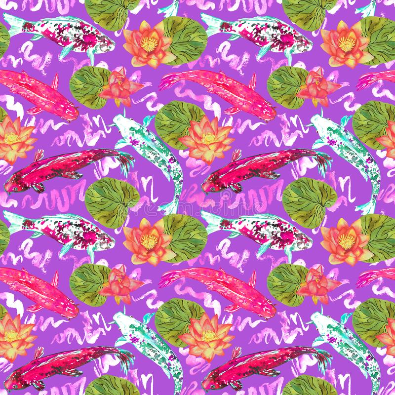 Karpfensammlungsschwimmen im Teich mit Blau bewegt mit rosa Lotosblumen auf hellem purpurrotem Hintergrund, Draufsicht wellenarti lizenzfreie abbildung