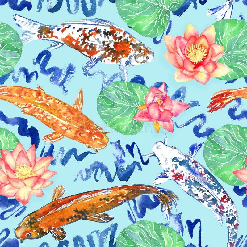 Karpfensammlungsschwimmen im Teich mit Blau bewegt mit rosa Lotosblumen wellenartig stock abbildung