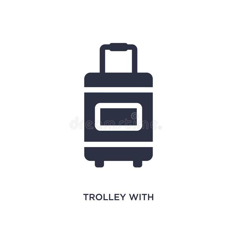 karretje met bagagepictogram op witte achtergrond Eenvoudige elementenillustratie van luchthaven eindconcept stock illustratie