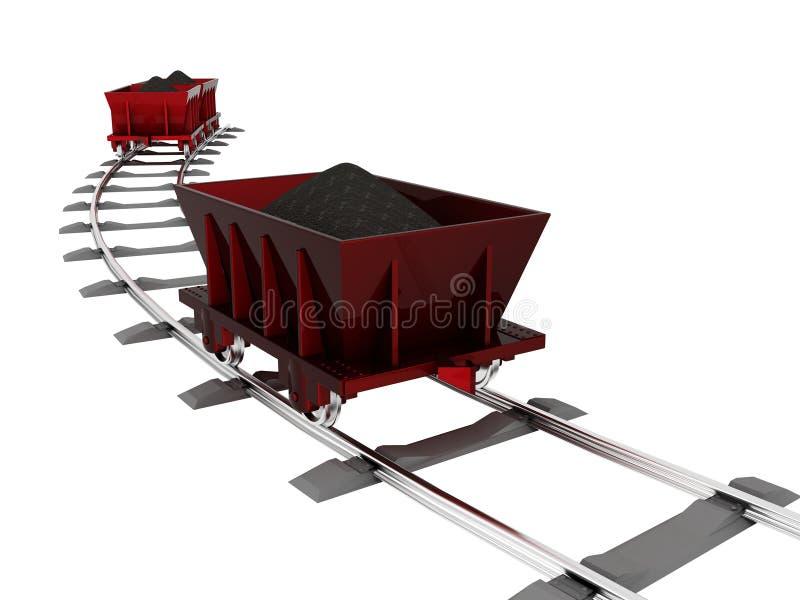 Karretje met steenkool stock illustratie