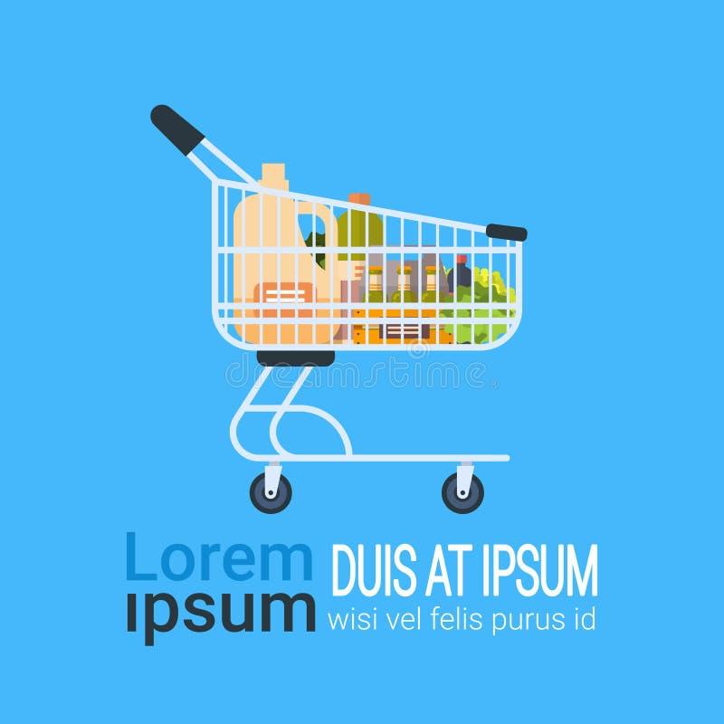 Karretje van het Voedsel van Kruidenierswinkelproducten het Winkelen Pictogram op Achtergrond met Exemplaarruimte royalty-vrije illustratie