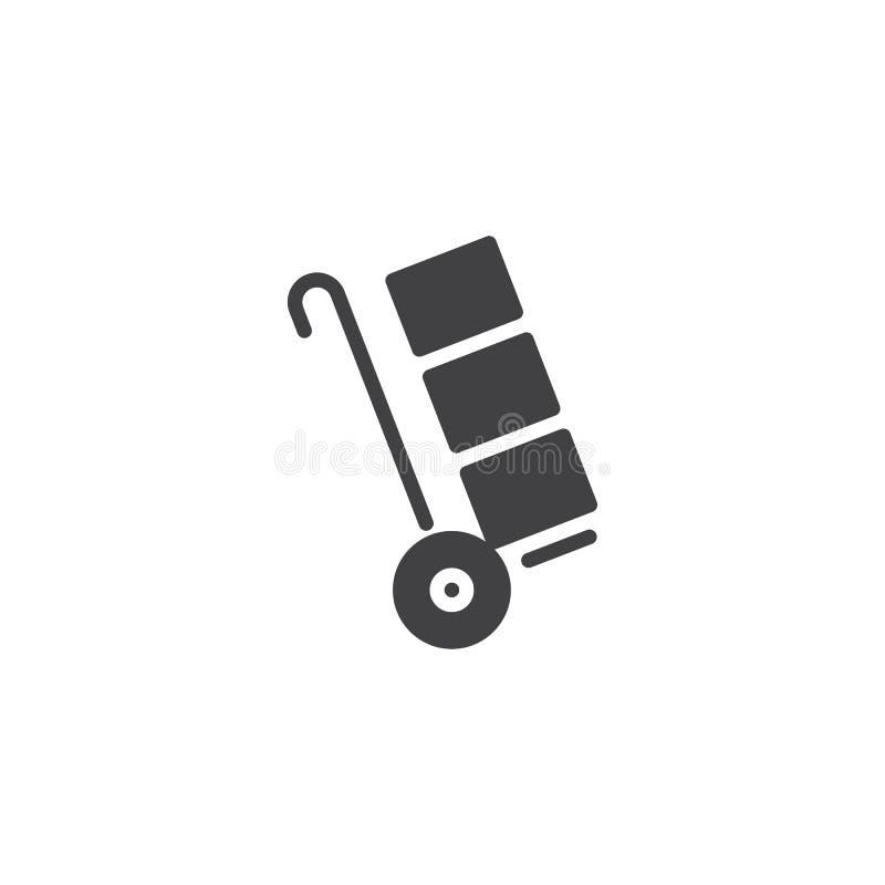 Karretjestootkar met het pictogramvector van kartondozen stock illustratie