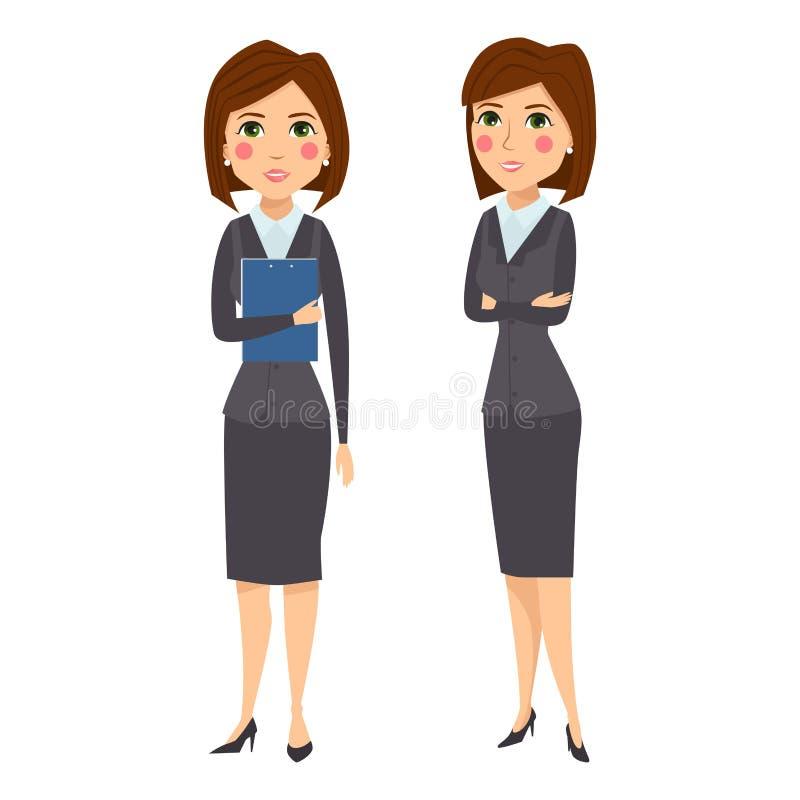 Karriär för kontor för kontur för tecken för vektoraffärskvinna som stående vuxen poserar unga flickan vektor illustrationer