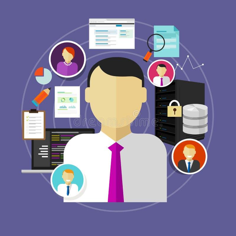 Karriär i tjänsteman för IT-teknologiCIO högsta information till administratörpersonalen och programmerare royaltyfri illustrationer