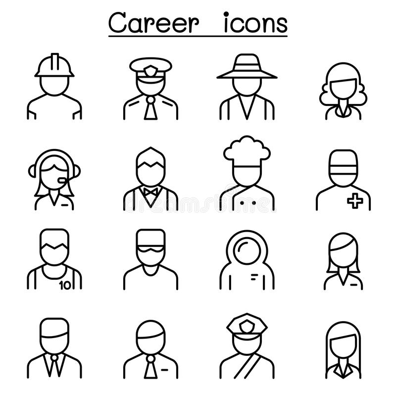 Karriär ockupation, yrkesymbolsuppsättning i den tunna linjen stil royaltyfri illustrationer