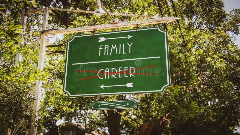 Karri?r f?r familj f?r gatatecken kontra royaltyfri bild