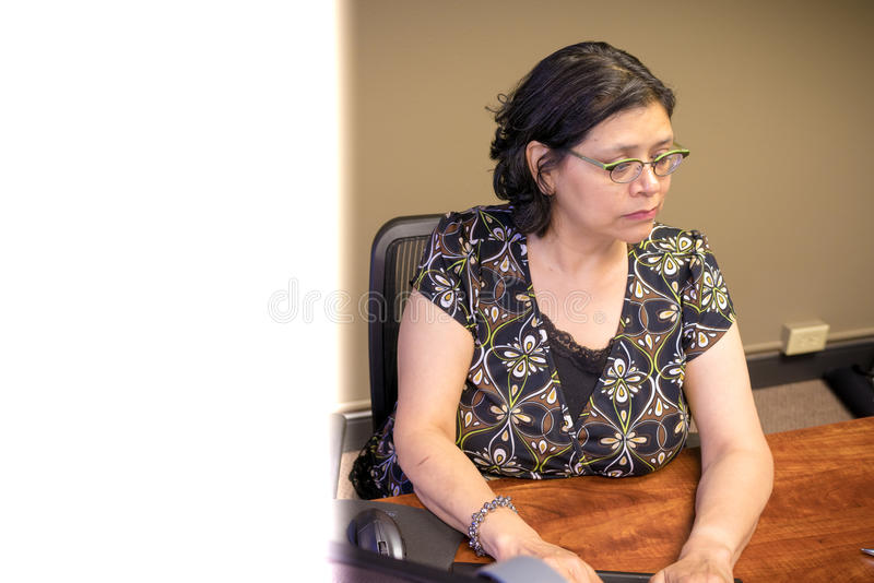 Karriere-gesinnter weiblicher Fachmann bei der Arbeit stockfotos