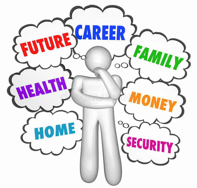 Karriere-Jobs, die Person Thought Clouds Options denken stock abbildung