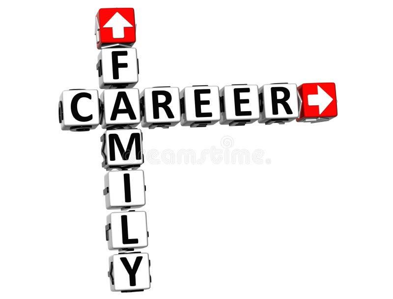 Karriere-Kreuzworträtsel der Familien-3D lizenzfreie abbildung