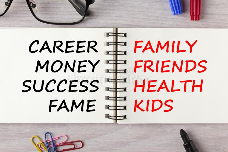 Karriere oder Familien-Konzept stockbilder