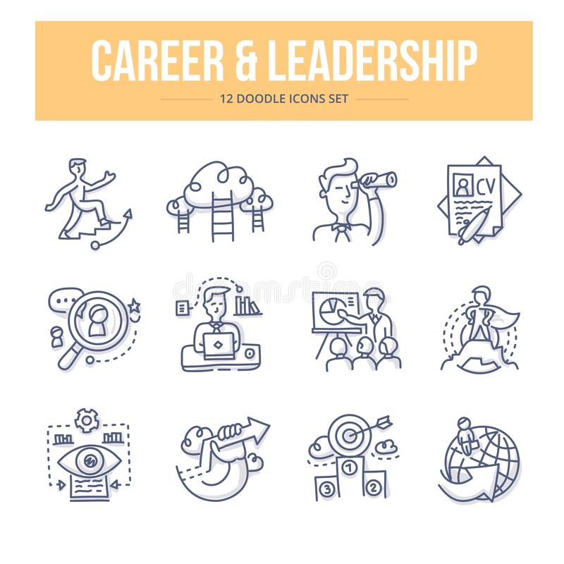 Karriere-u. Führungs-Gekritzel-Ikonen stock abbildung