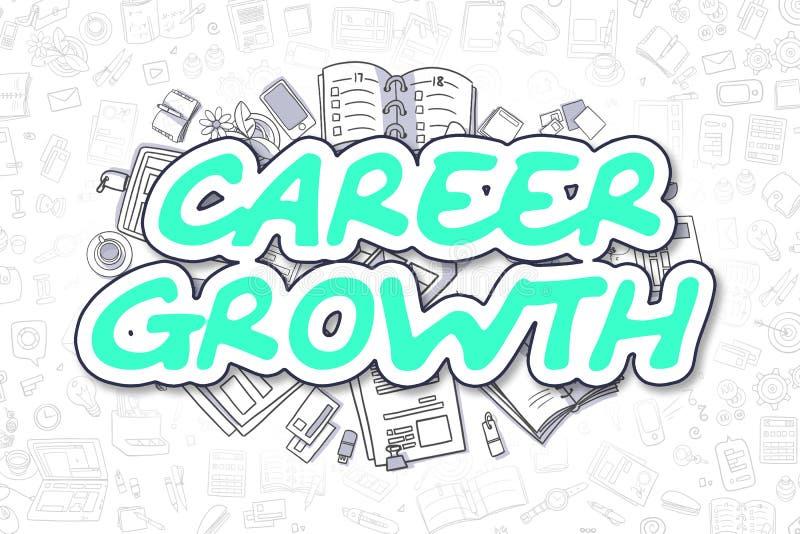 Karriere-Wachstum - Karikatur-grüne Aufschrift Die goldene Taste oder Erreichen für den Himmel zum Eigenheimbesitze lizenzfreie abbildung
