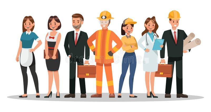 Karrierecharakterentwurf Schließen Sie Kellner, Geschäftsmann, Ingenieur, Doktor und mehr mit ein lizenzfreie abbildung