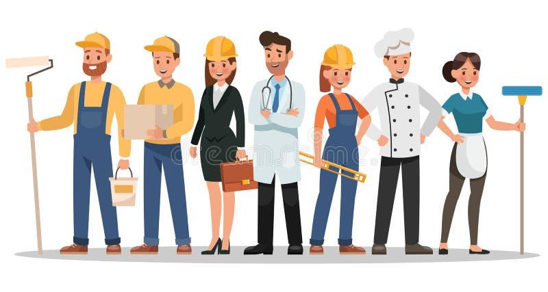 Karrierecharakterentwurf Schließen Sie Maler, Ingenieur, Doktor und mehr mit ein lizenzfreie abbildung