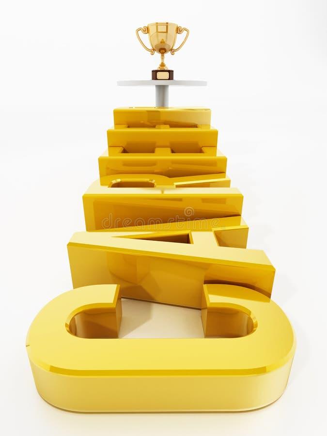 Karriereschritte, die durch die Goldschale führen Abbildung 3D lizenzfreie abbildung
