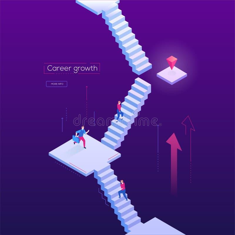 Karrierewachstum - moderne isometrische Vektornetzfahne stock abbildung