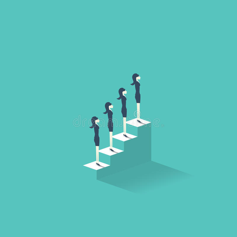 Karrierewachstumsvektor-Illustrationskonzept mit den Geschäftsfrauen, die auf Treppe zur Spitze stehen Emanzipationssymbol für lizenzfreie abbildung