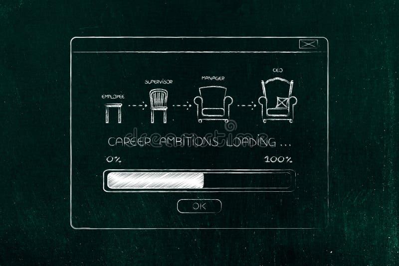 Karriereweiterentwicklung von eomployee zu CEO mit Fortschrittsstange loadi stockfoto