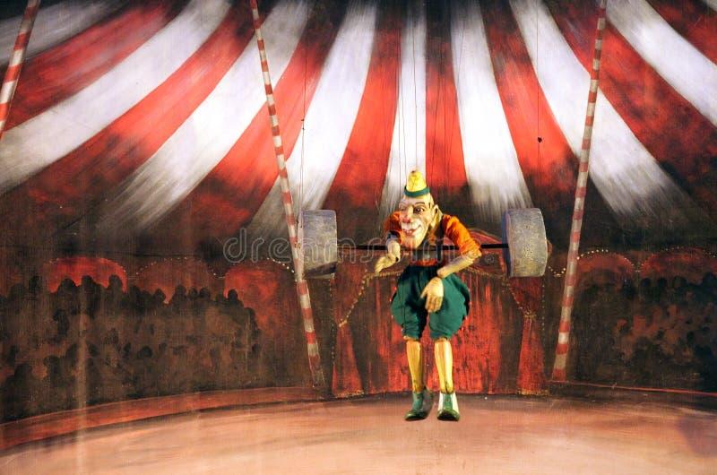 Karromato wooden circus at Bahrain, June 29, 2012. SANABIS, BAHRAIN - JUNE 29: Karromato Czech Marionette theater performs the act wooden circus during Bahrain stock photo