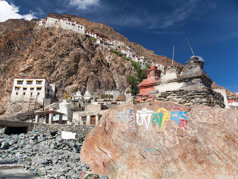 Karsha gompa - buddhist monastery in Zanskar valley royalty free stock image