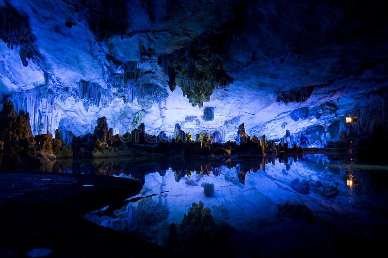 Karst cave. Reflection in guilin stock images