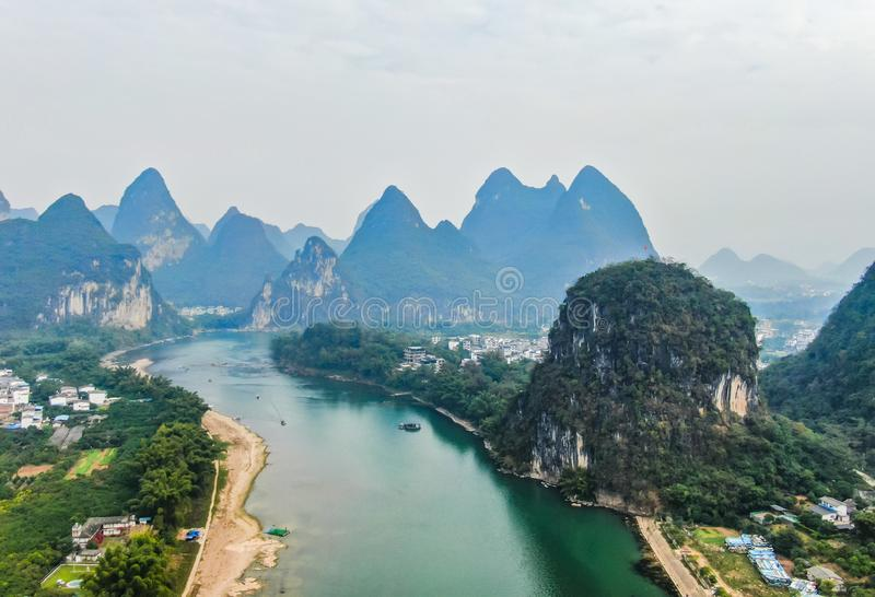 Karst landform on the Bank of Lijiang River. Guilin has unique karst landform on both sides of Lijiang River, which is a famous tourist destination in China royalty free stock photos