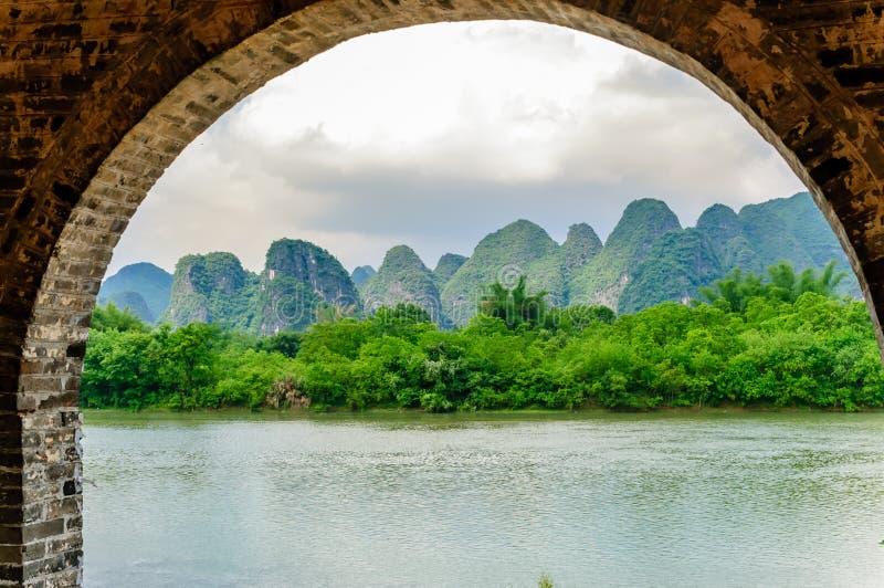 Karst landschap en Li-rivier door Yanhshuo in China stock fotografie
