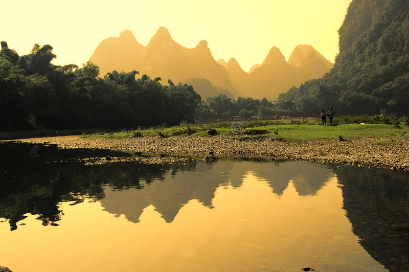 Karst Mountain Landscape In Yangshuo Guilin, Stock Photo ...