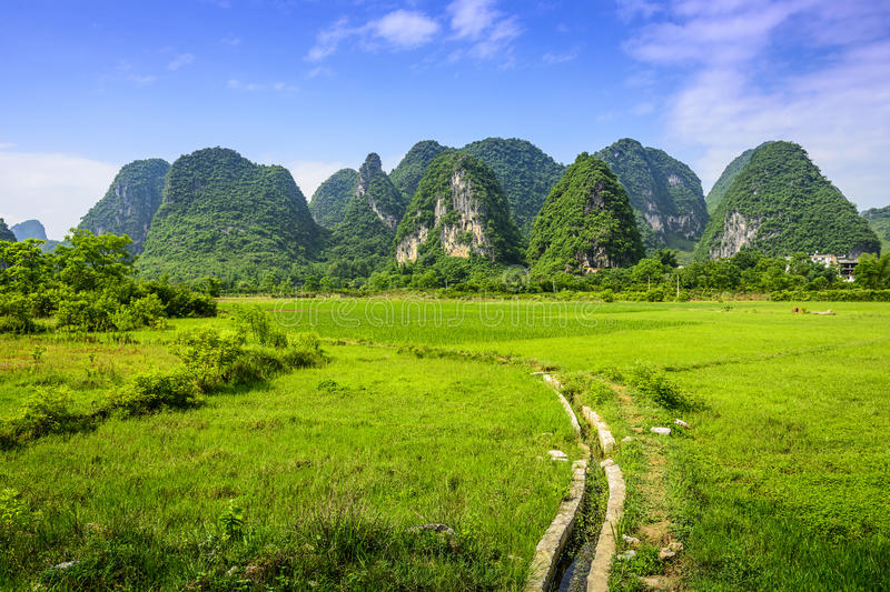 Karst Mountains in China. Karst Mountain landscape in rural Guilin, Guangxi, China stock images