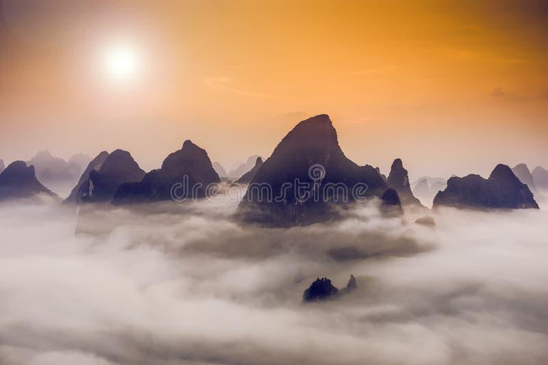 Karst Mountains in China. Karst Mountains of Xingping, China stock image