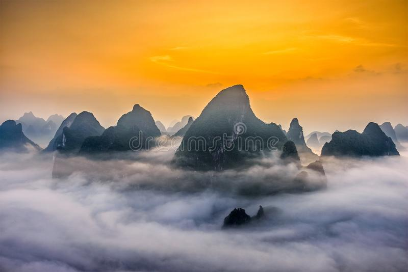 Karst Mountains in Guilin,China royalty free stock photo