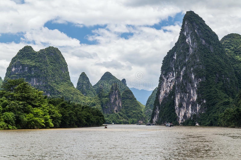 Karst mountains and limestone peaks of Li river in China stock photo