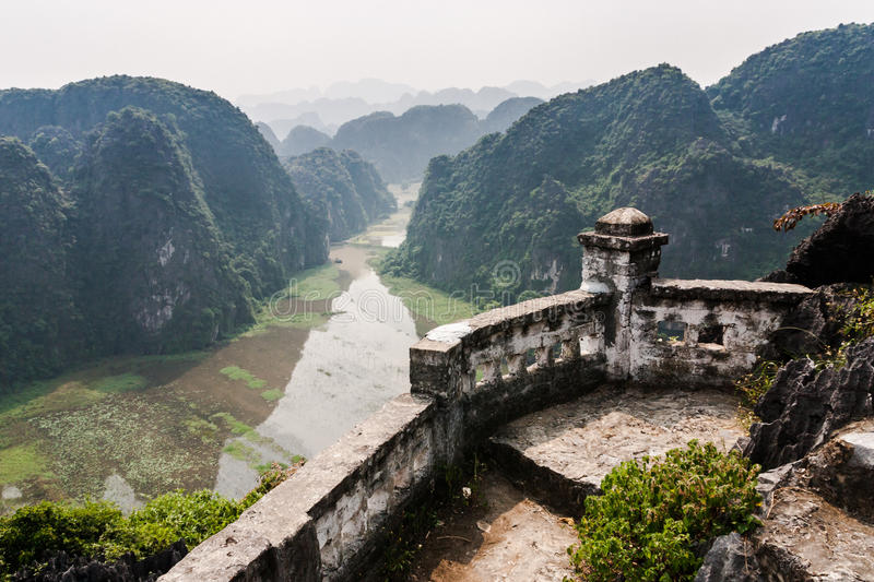 Karstic landscape from Hang Mua pagoda. View on karsts along Ngo river (Tam Coc tour - Land Halong Bay) from Hang Mua pagoda royalty free stock image