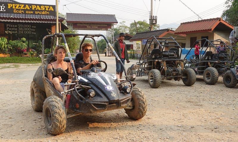 Kart在老挝 图库摄影