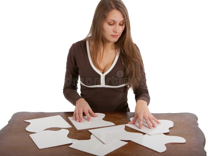 Download Kart łamigłówki kobieta zdjęcie stock. Obraz złożonej z wiadomość - 13334560