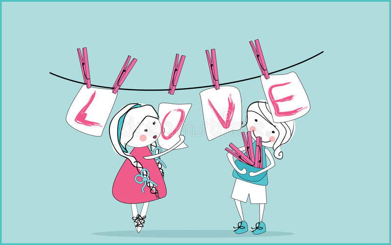 kart clothesline obwieszenia miłość ilustracja wektor